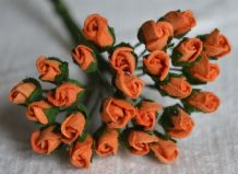 4mm ORANGE ROSE BUDS Mulberry Paper Flowers